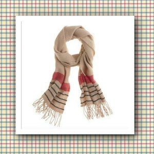 """J Crew Checker-Stripe """"Made in Italy"""" Wool Scarf"""